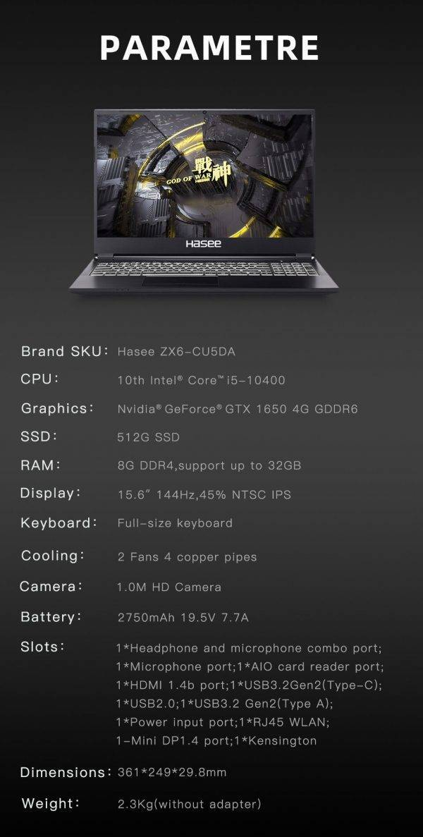Hasee i5 10th Gen Gaming Laptop